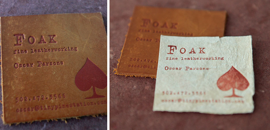 Foak yeah tiny pine press leather business card letterpress fy1 colourmoves