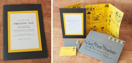Fancy Yellow Bar Mitzvah Invitation