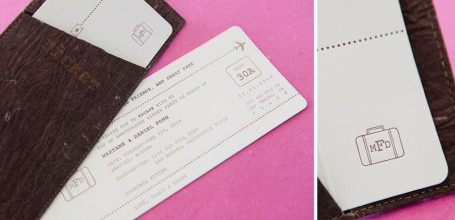 Airplane ticket destination wedding invitation, letterpress with faux leather sleeve.