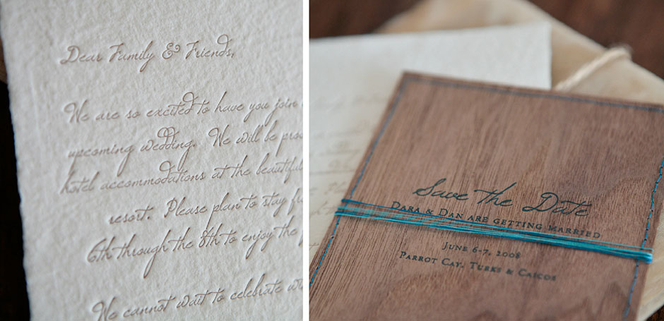Handmade wood save the date with thread tie.