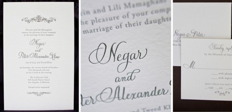 Traditional letterpress wedding invitation with calligraphy for print.