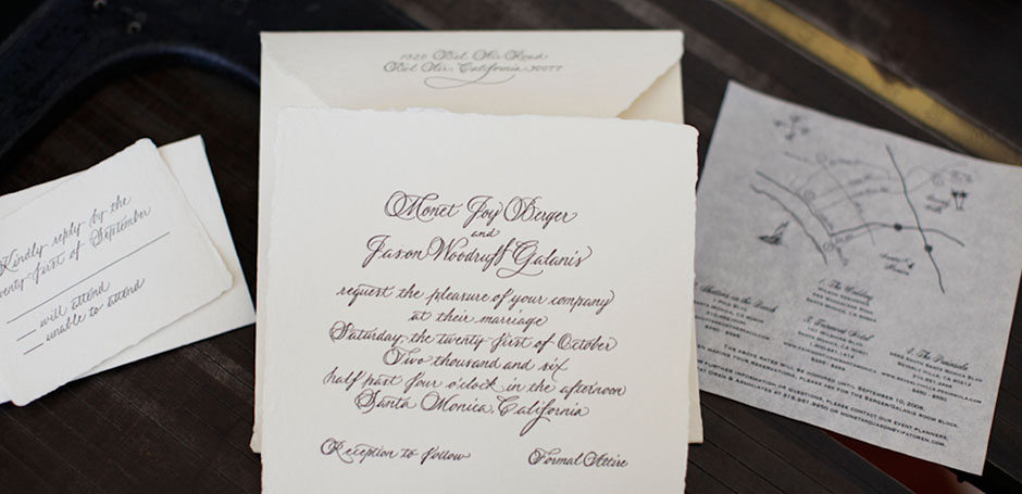 Classic letterpress calligraphy wedding invitation