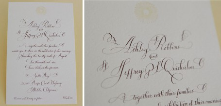 Calligraphy for print wedding invitation.