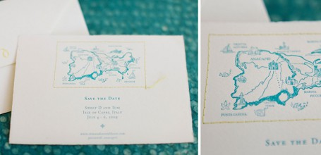 Letterpress save the date with map and stitched border for Caribbean wedding.