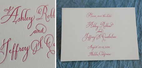 Red-pink letterpress save the date