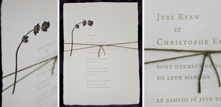 Handmade wedding invitation with pressed lavender flower, letterpress.