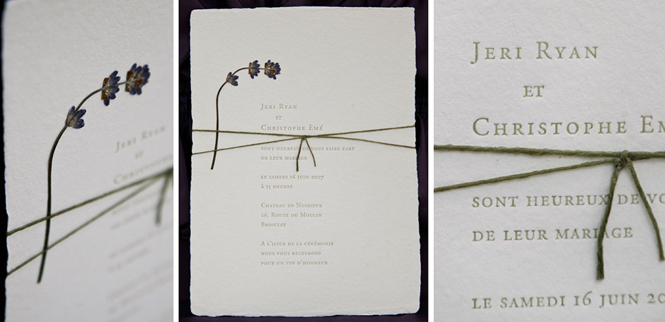 handmade wedding invitation with pressed lavender flower letterpress - Paper For Wedding Invitations