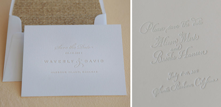Letterpress save the date with grasscloth envelope liner.