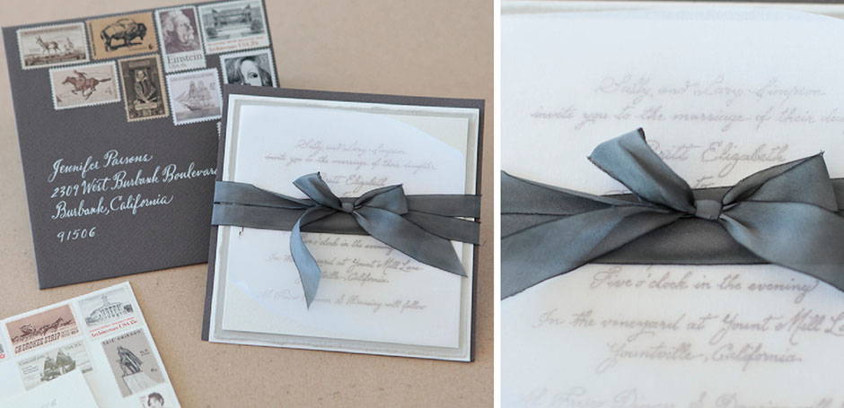 Laser cut wedding invitation with ribbon tie, vintage stamps, calligraphy.