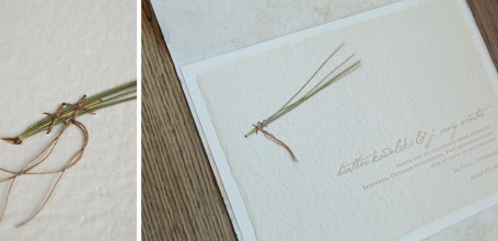 Letterpress wedding invitation with pine needle