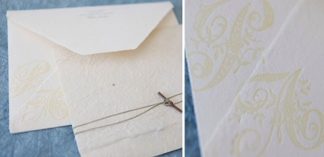 Letterpress wedding envelope