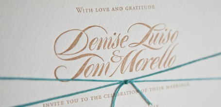 gold letterpress wedding invitation, blue tie