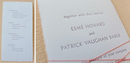 Hand-torn paper wedding invitation