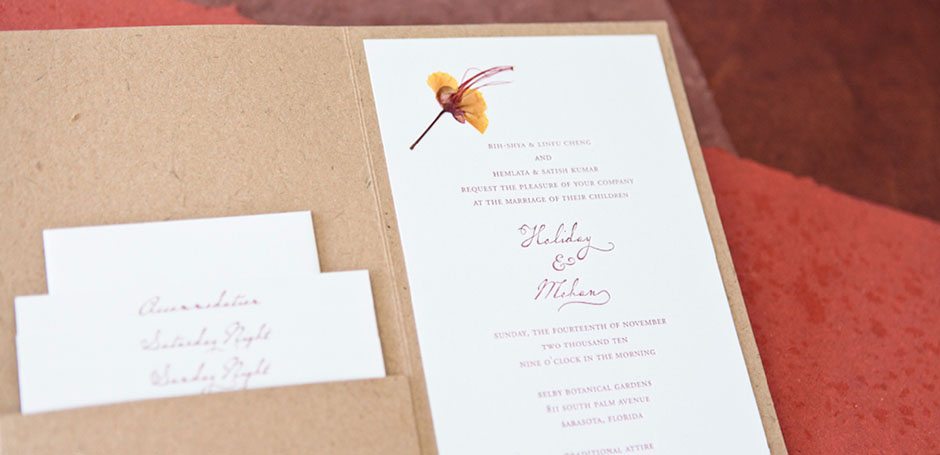 indian wedding invitation letterpress pressed flower h1 tiny pine press. Black Bedroom Furniture Sets. Home Design Ideas