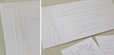 White thread tie silver letterpress wedding invitation on tea card.