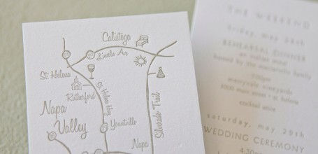 Napa Valley custom wedding map