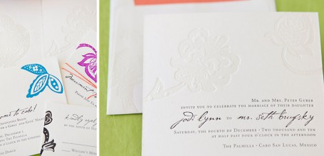 Letterpress Mexico wedding invitation, colorful with twine tie.