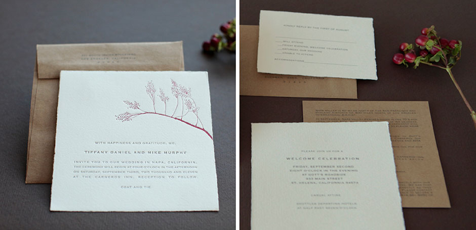 Napa wedding invitation, letterpress