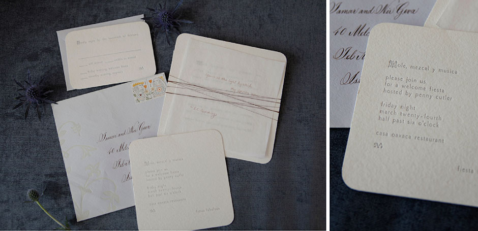 Mexico wedding invitation with rounded corners