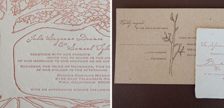 Kraft paper wedding invitation suite with trees