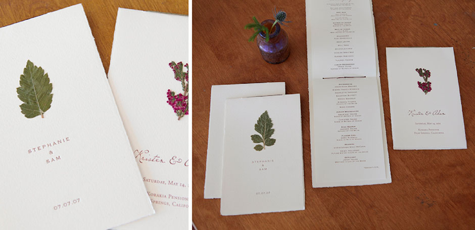 Pressed flower wedding programs