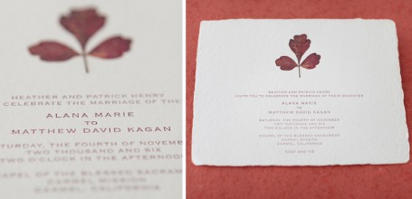 Pressed leaf handmade paper custom wedding invitation.