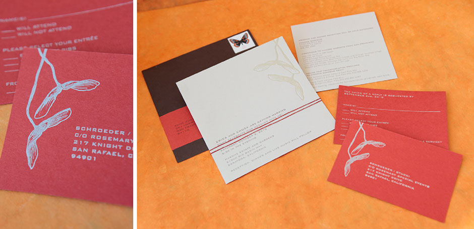 Red wedding invitation with silver letterpress