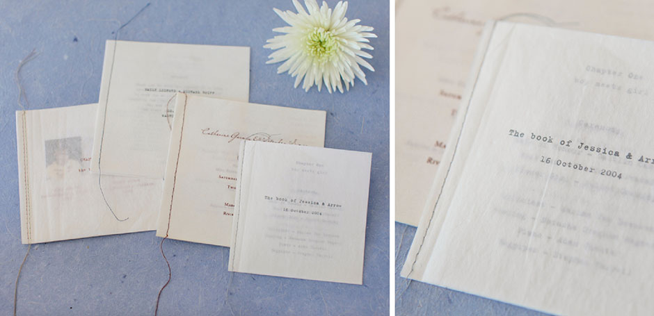 wedding program booklets with stitched binding tiny pine press