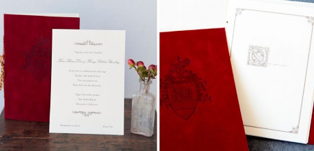 Storybook wedding invitation with velvet cover and tassel.
