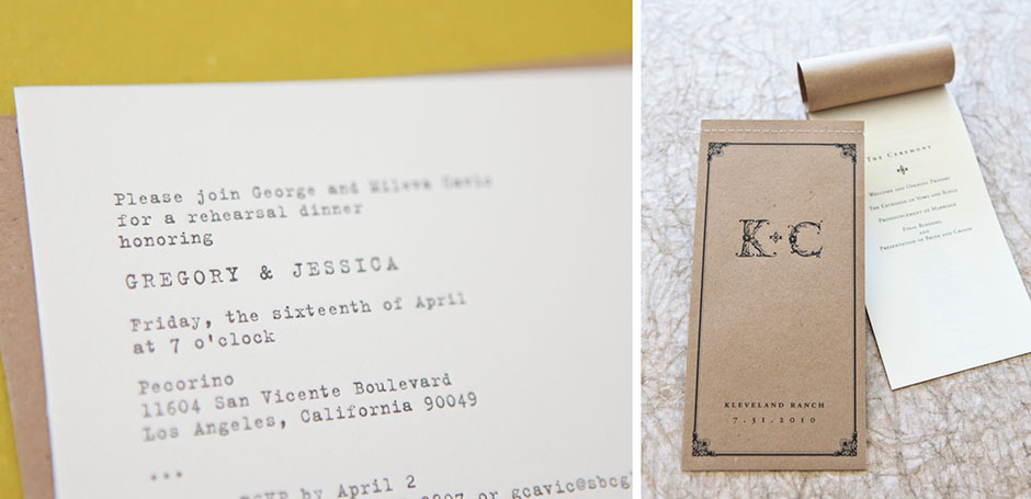 Typewriter Font Wedding Invitation And Program