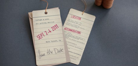 Vintage luggage tag destination wedding invitation