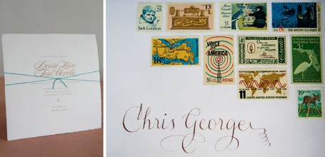 Letterpress wedding invitation with vintage stamp envelope.