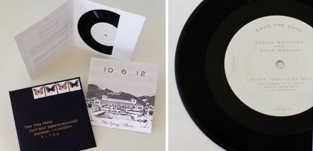 Vinyl record save the date for Palm Springs wedding.