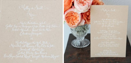 White wedding menu on kraft paper