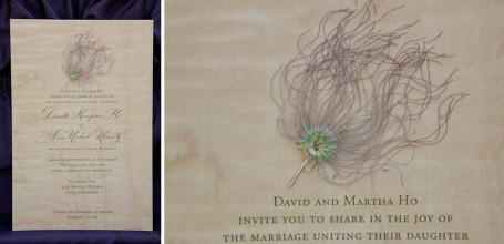 Wood wedding invitation with pressed flower.
