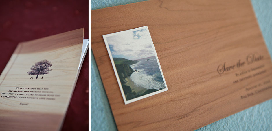 Wood save the date and wood stitched wedding program.