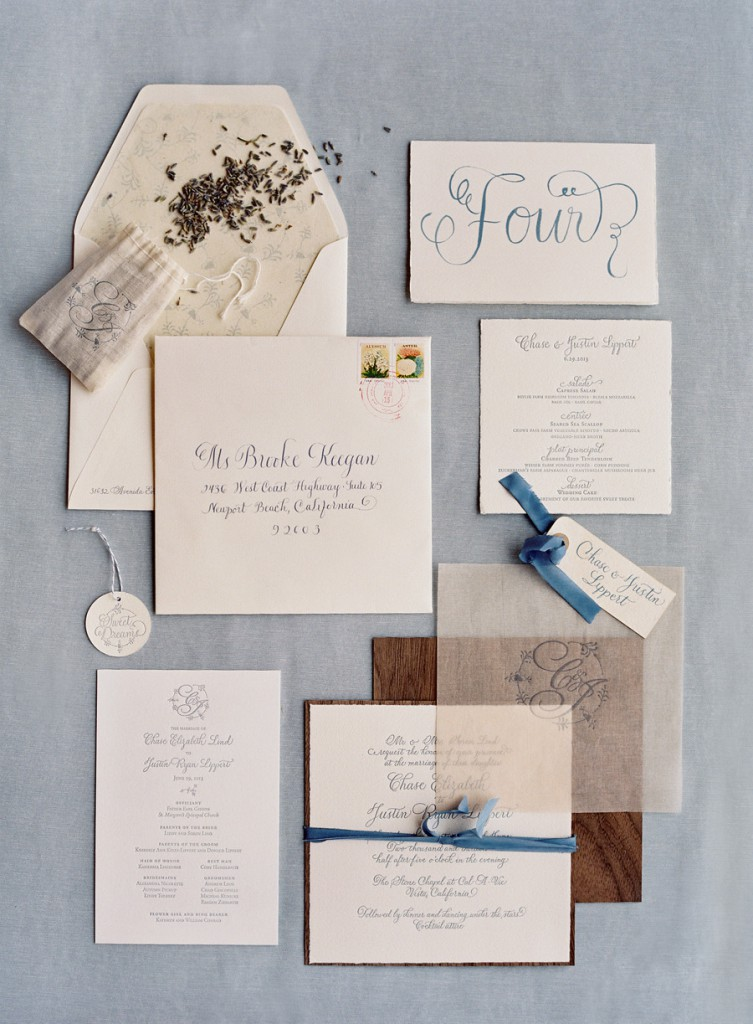The full invitation and wedding day of paper by Tiny Pine Press.
