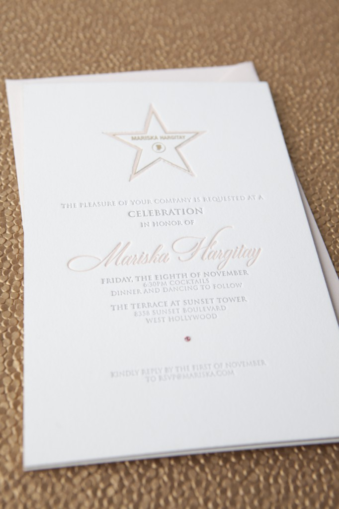 Invitation to Mariska Hartigay Walk of Fame Party