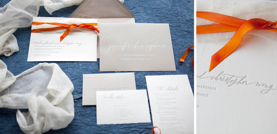Fabric and ribbon wedding invitation suite