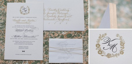 Gold letterpress invitation with monogram