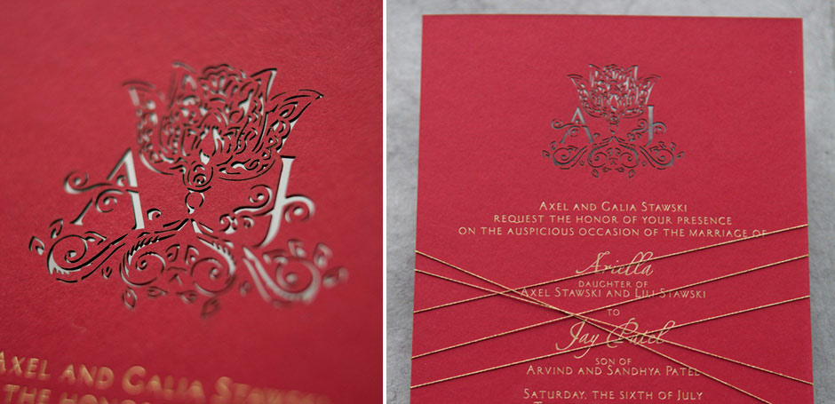 Laser cut wedding invitation with custom monogram