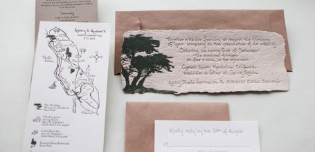 Handmade paper wedding invitation suite