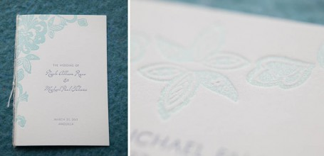 glittery letterpress wedding invitation program