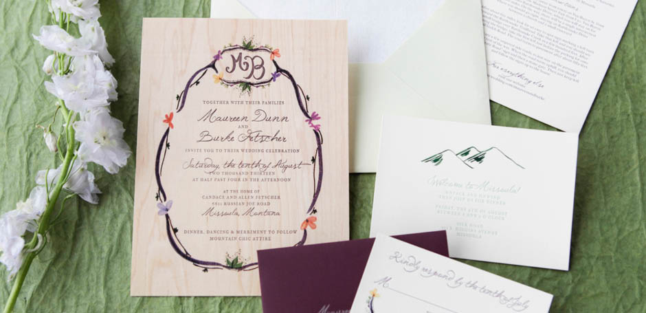 Printed wood wedding invitation suite