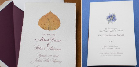 Pressed leaf on hand-torn paper wedding invitation