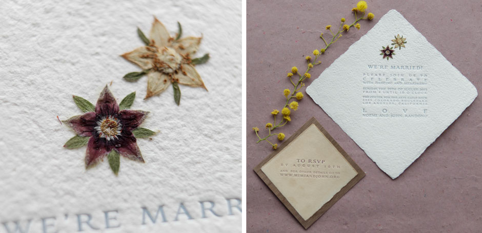 Square organic wedding invitation pressed flowers tiny for Wedding invitations with real flowers