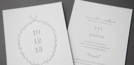 Letterpress wreath save the date