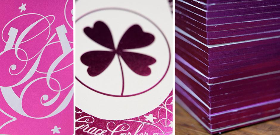 Gilded edges Bat Mitzvah invitation with purple foil.