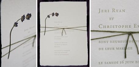 Handmade wedding invitation with pressed lavender flower, letterpress.