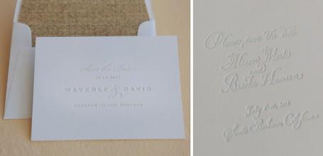 Letterpress save the date with grasscloth envelope liner.